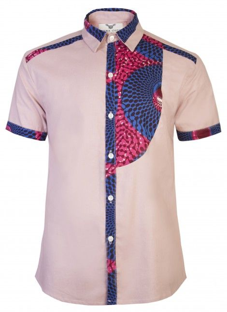 Men's African print shirt-Slim fit Fitted short sleeve half bib front detail contrast print shirt. ~Latest African Fashion, African women dresses, African Prints, African clothing jackets, skirts, short dresses, African men's fashion, children's fashion, African bags, African shoes ~DKK