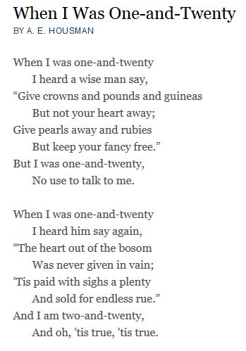 A E Housman one and twenty