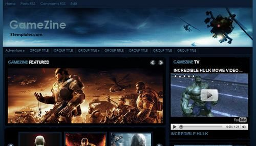 Template Settings / How to use this template  Template author:Cahaya Biru  Designer:Web2Feel  Description:    GameZine is a free blogger template adapted from WordPress with 3 columns, right sidebar, magazine-styled, grunge style and slideshow