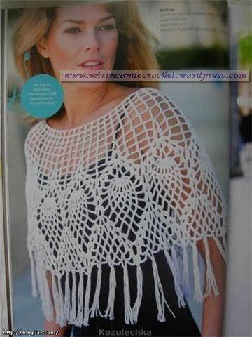 Poncho con diseños de piñas   Mi Rincon de Crochet