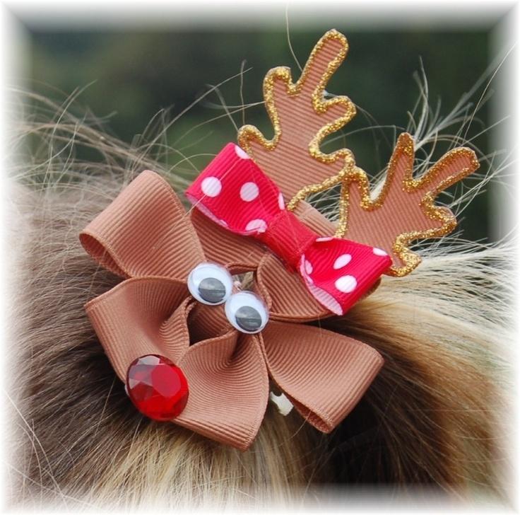 Reindeer Hairbow. $9.00, via Etsy.