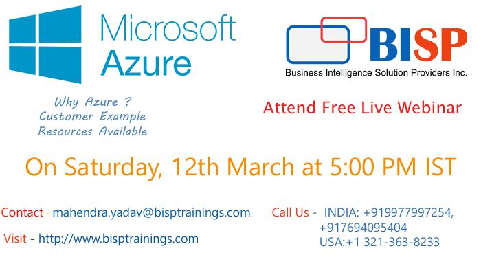 Learn DEVELOPING SOLUTIONS WITH MICROSOFT AZURE By Industry Expert    Attend Free Live Webinar session on Saturday, 12 March at 5:00 PM IST  Registration link: https://attendee.gototraining.com/r/2643499005133862658  Contact - mahendra.yadav@bisptrainings.com  Visit  - http://www.bisptrainings.com/ Call Us -  INDIA: +919977997254, +917694095404  USA:+1 321-363-8233