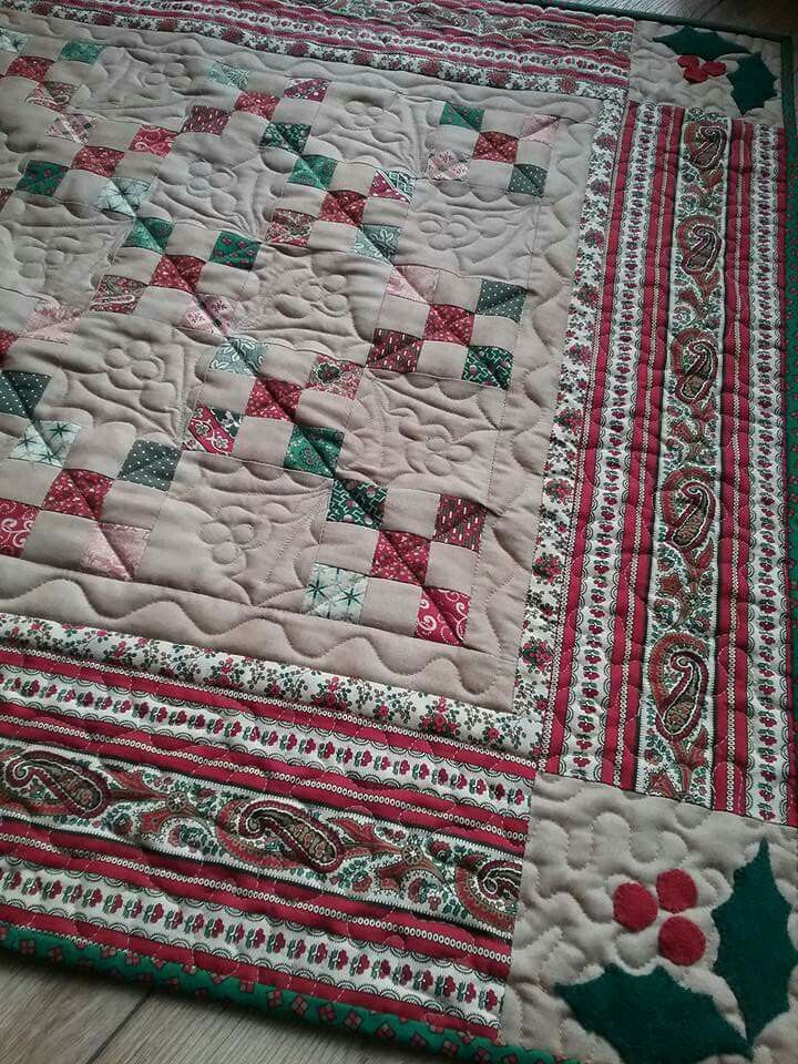 """Table runner 28"""" x 28"""" quilted by me."""