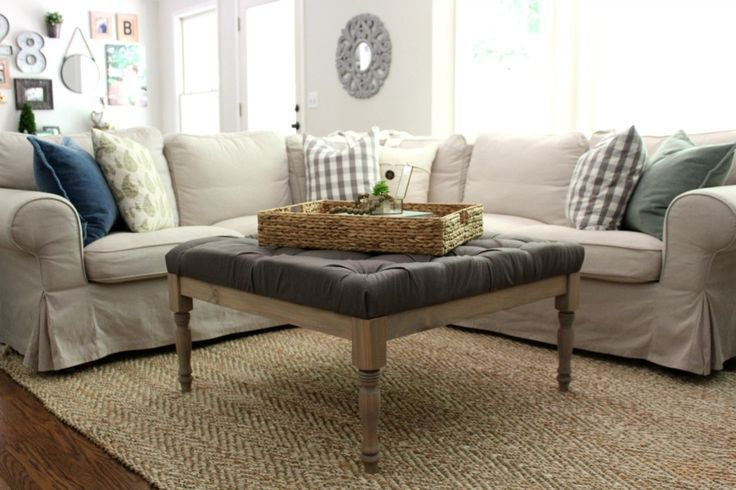 This no-sew, upholstered coffee table makes for a great place to prop up your feet and stay awhile. This is a simple tufted style upholstery that anyone can do!