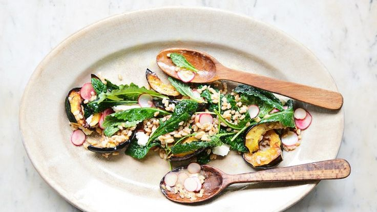 Squash and Farro Salad with Tahini Vinaigrette Recipe | Bon Appetit