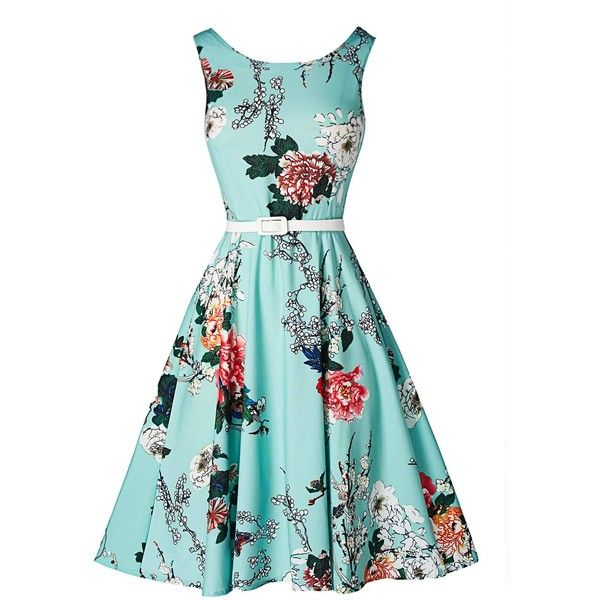 Flower Print Sleeveless High Waist Dress (£18) ❤ liked on Polyvore featuring dresses, blue, blue floral dress, vintage floral dress, floral midi dress, vintage dresses and blue sleeveless dress
