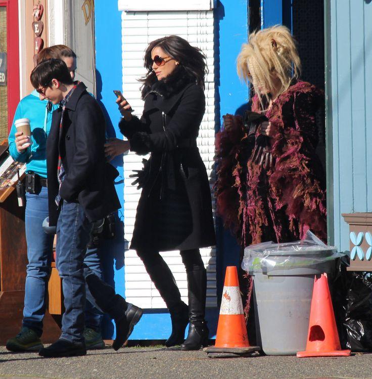 Jared Gilmore, Lana Parrilla & Emma Caulfield on set - February 23, 2016