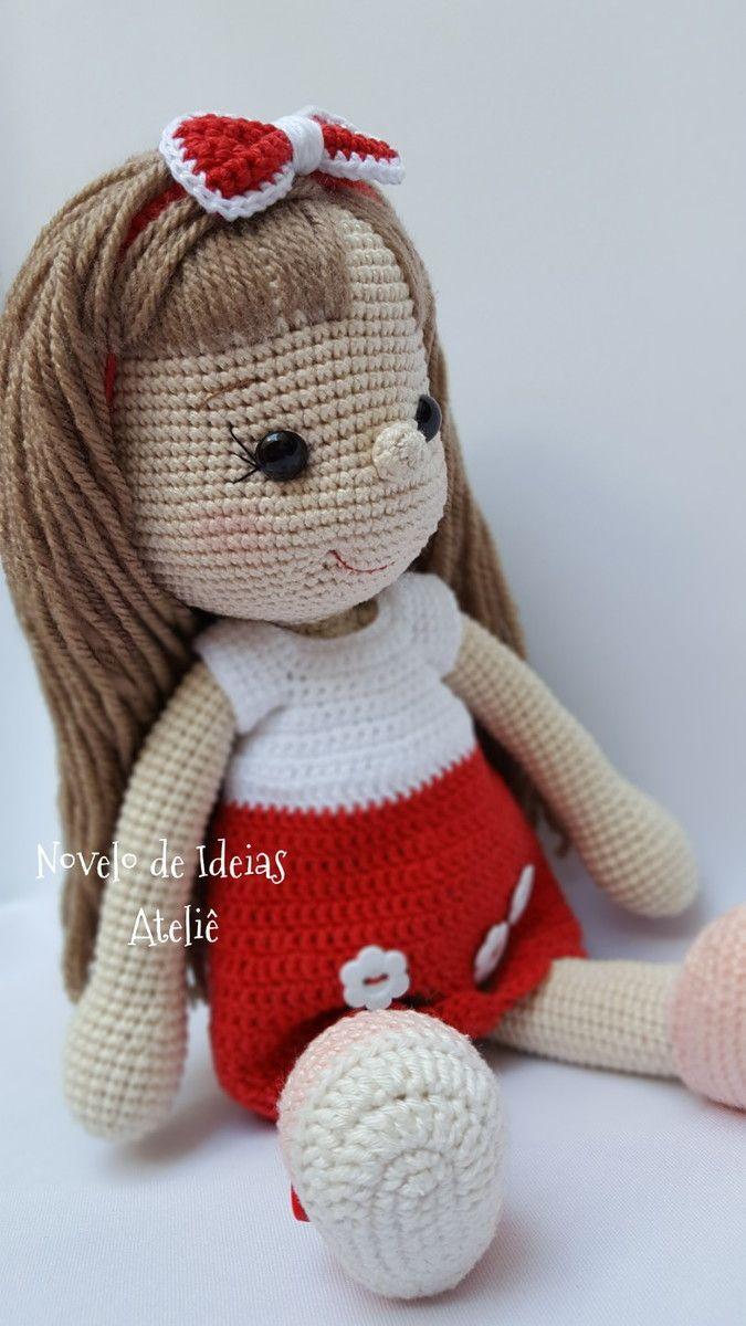 Boneca De Crochê Com Vestido Amigurumi 30 Cm Doce Noa - R$ 155,00 ... | 1200x675