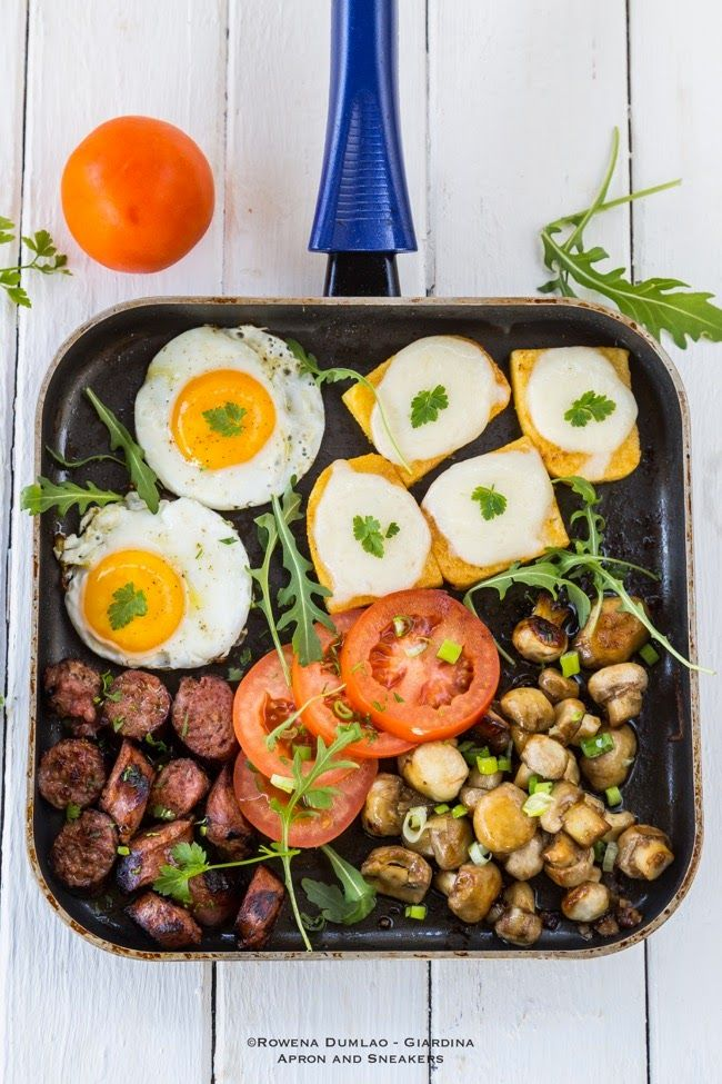 Apron and Sneakers - Cooking & Traveling in Italy and Beyond: One-Pot Meal: Cheesy Polenta, Sausage, Mushrooms and Eggs