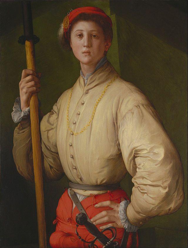 Portrait of a Halberdier - Artist: Pontormo Dimensions: 3′ 0″ x 2′ 4″ Media: Oil paint Created: 1530–1530 Period: Mannerism