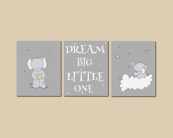 Elephant Nursery Art Dream Big Little One by SweetMelodyDesigns