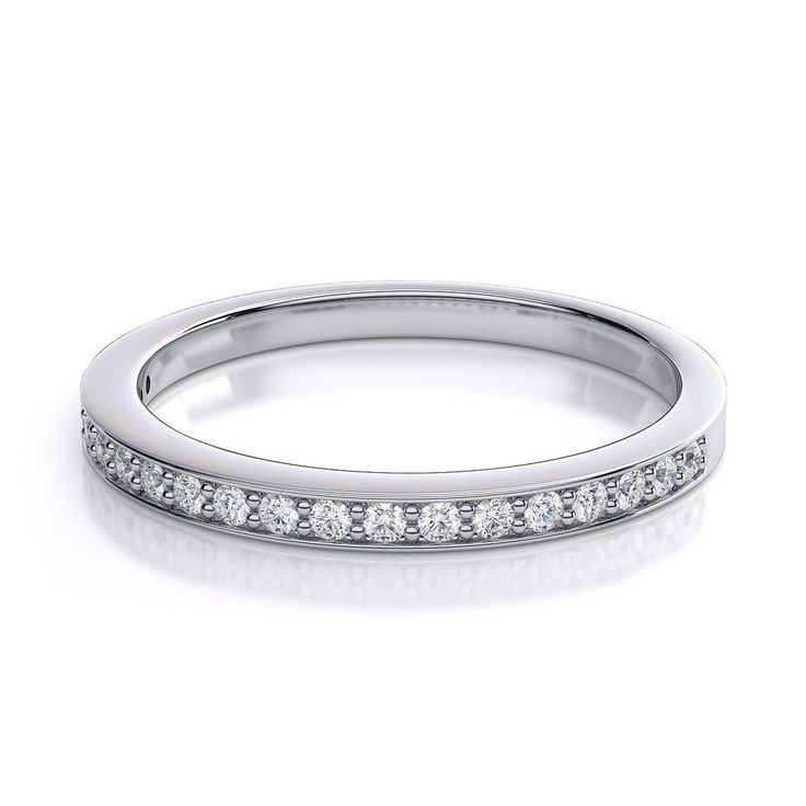 0.25 Carat Pave Set Round Diamond Half Eternity Wedding