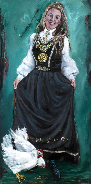 Cecilie med fløyelsliv fra Vest-Telemark. Kari Wang maleri. Akryl på lerret 60x120 cm