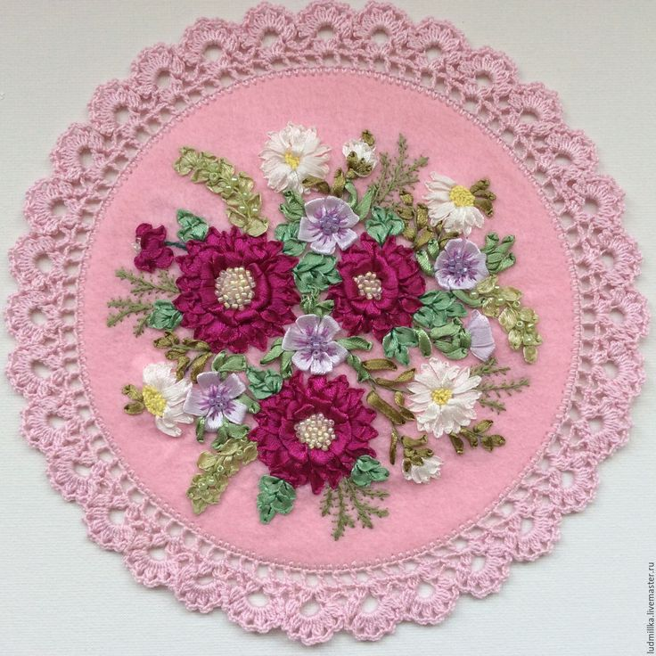 """Купить Вышивка лентами """"Весенняя"""" - Вышивка лентами, вышивка цветами, подарок девушке, подарок женщине"""