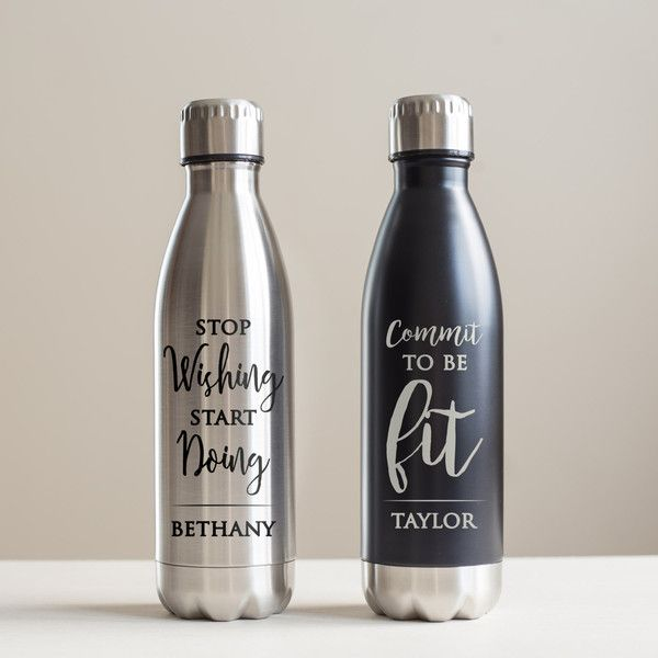 Personalized Motivational Stainless Steel Water Bottle Inspiring Water... ($23) ❤ liked on Polyvore featuring home, kitchen & dining, bar tools, black, drink & barware, drinkware, home & living and water bottles & vacuum flasks