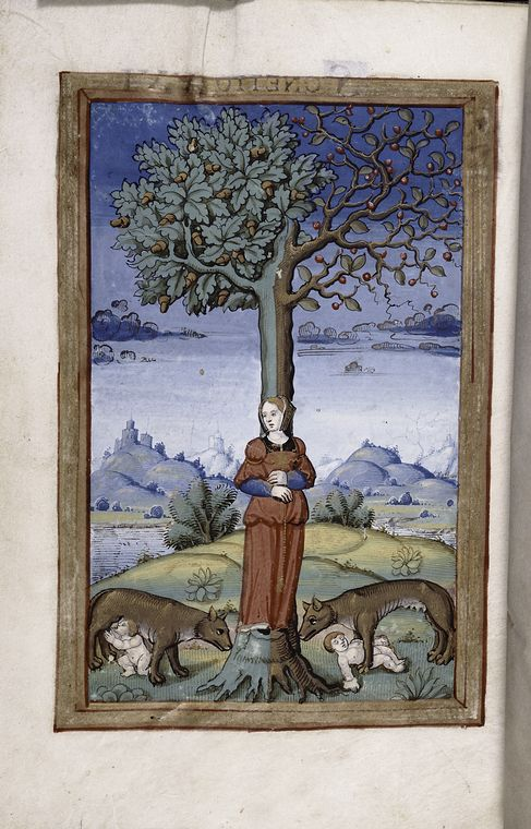 Final miniature of an allegory of a woman as part of the tree trunk, whose branches sprout acorns and berries, while two wolves, each with a...