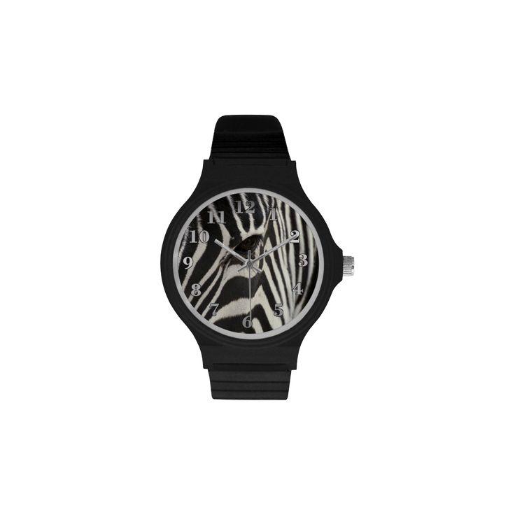Zebra Unisex Round Plastic Watch. FREE Shipping. #artsadd #watches #zebra