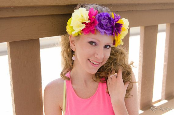 Pink Purple Yellow Flower Crown, Flower Headband, Festival Wear, Burning Man, Lollapalooza, Beyond Wonderland, Nocturnal Wonderland, PLUR