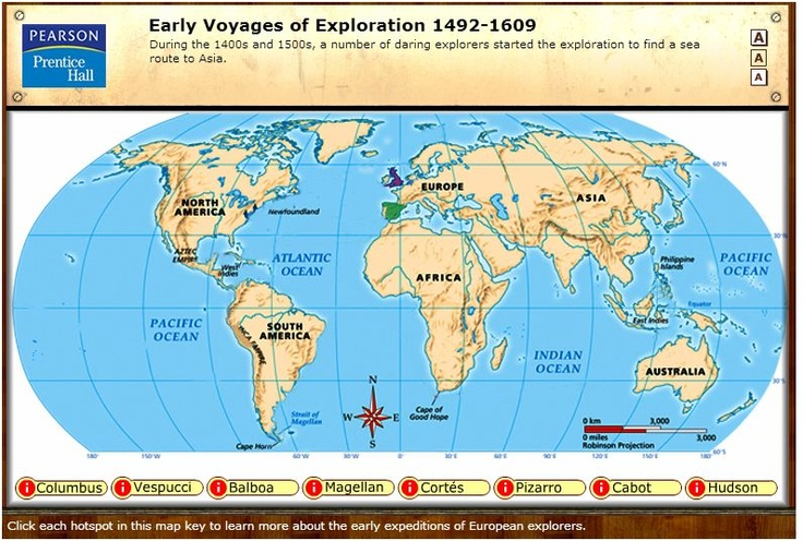 Early Voyages Of Exploration Interactive Map Through