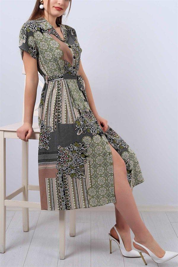 47 95 Tl Desenli V Yaka Bayan Gomlek Elbise 12953b Modamizbir Gomlek Elbise Moda Stilleri Elbise