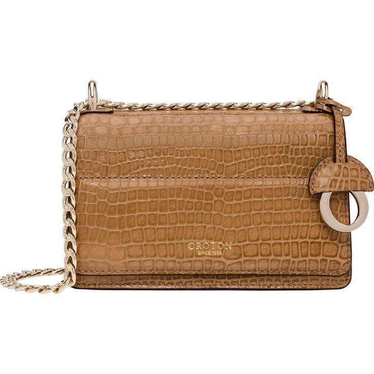 Forte Texture Mini Clutch Bag in Natural Croco