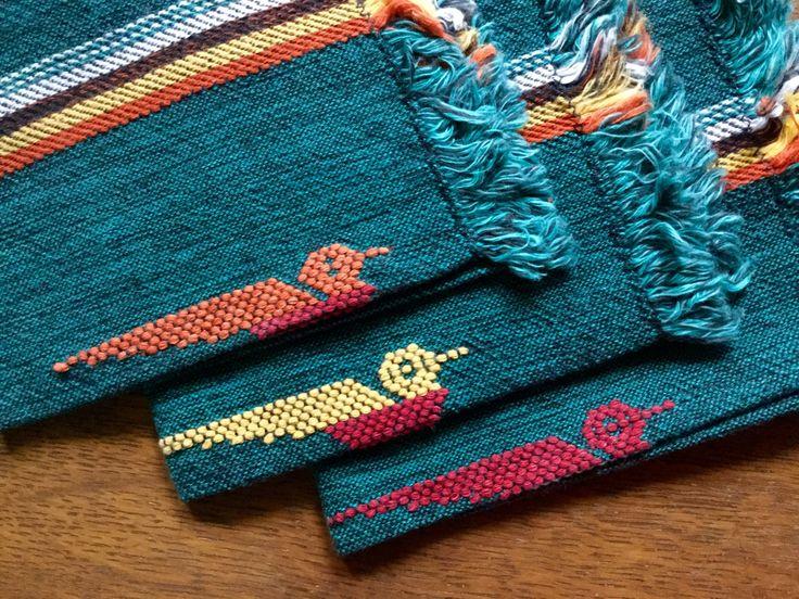 Vintage Napkins, Cotton Napkins, Southwestern Napkins, Vintage Linens, Ethnic, Mexican Decor, Southwestern Decor, Road Runner, Green Napkins by RushCreekVintage on Etsy