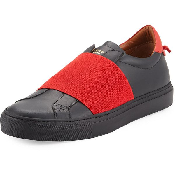 Givenchy Contrast-Banded Leather Slip-On Sneaker ($595) ❤ liked on Polyvore featuring men's fashion, men's shoes, men's sneakers, men's shoes sneakers, mens wide shoes, golden goose mens sneakers, mens wide width shoes, mens woven leather slip-on shoes and givenchy mens sneakers