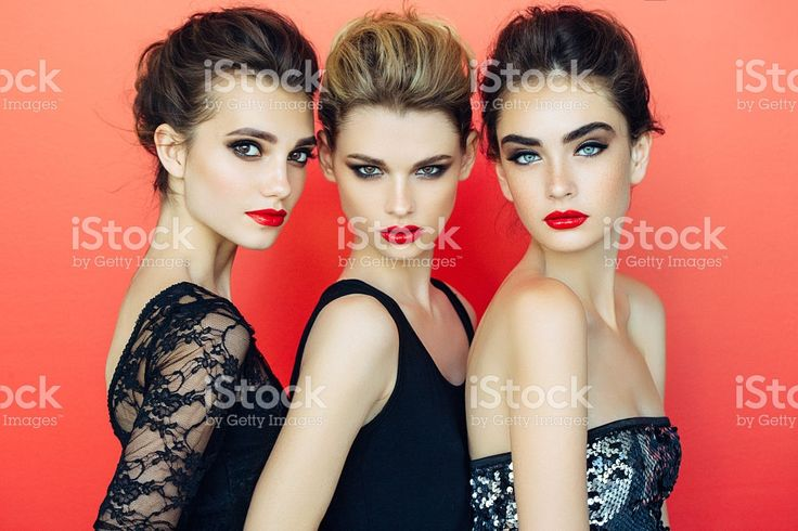 Three beautiful girls with make-up royalty-free stock photo