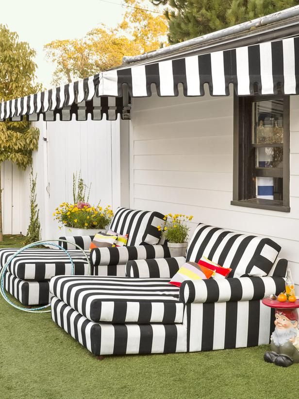 Backyard - The Makings of a Fun House on HGTVClosely Th Lawns, Lounges Chairs, White Lounges, Outdoor Lounges, Black White, Lounges Furniture, Stripes, Landscapes Hgtvmagazine, Backyards Lounges