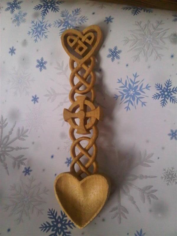 Welsh loving spoon made by original pinner. Beautiful