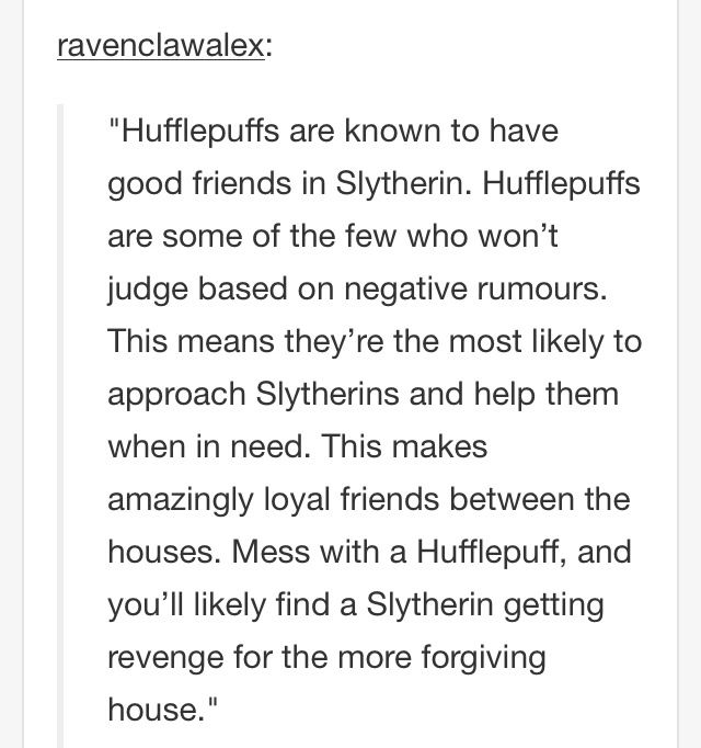 hufflepuff and slytherin relationship help