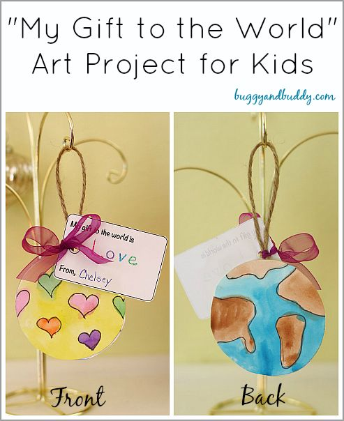 """Reinforce the spirit of giving this holiday season with this simple Christmas craft for kids! (""""My Gift to the World"""" Homemade Christmas Ornament)~ Buggy and Buddy"""