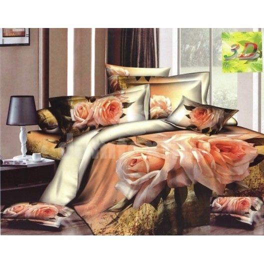 Bavlnená súprava posteľných obliečok béžovej farby s ružami