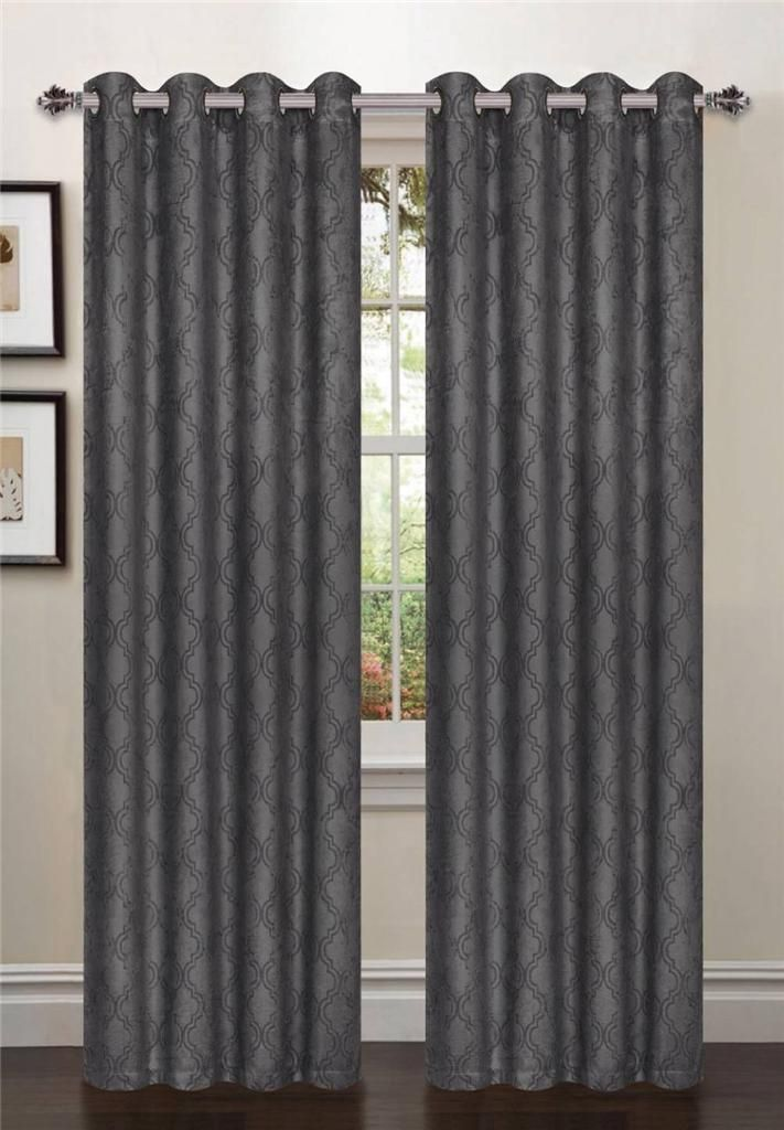 1-PCPATTERNED-BLACKOUT-CURTAINS-54-W-x-84-L-Taupe-CHOCOLATE-DRAPES-WINDOW-PANELS