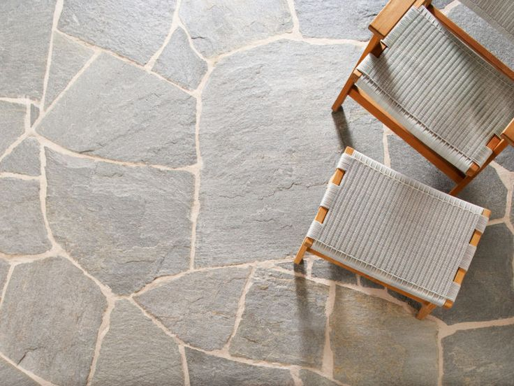 Eco Outdoor Endicott split stone crazing paving and Barwon easy chair.