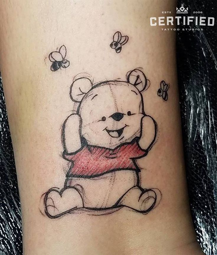 Winnie the Pooh tattoo by German Fernandez! Have fun and let out your inner child by getting a tattoo of your favorite cartoon character! 😊 Instagr…