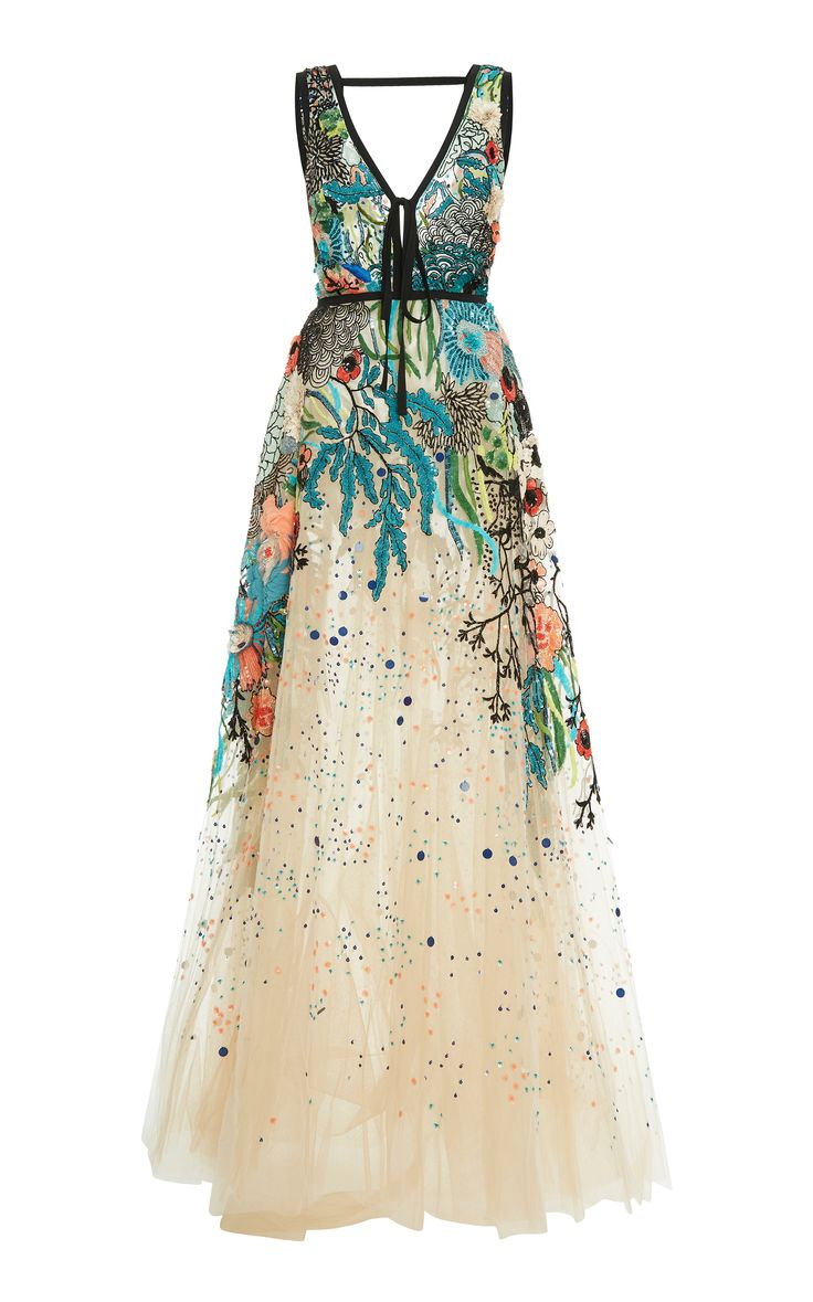 Elie Saab Bead Embroidered Tulle Gown