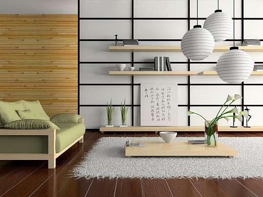 """Японский стиль.  Это минималистско-декоративный стиль, в котором ничто не перегружает внимание. Типичная деталь - японская раздвижная стенка, и конечно, бамбуковая мебель. Иероглифы - почти неизбежный атрибут оформления жилья """"под Японию"""". Стены помещений обычно ничем не украшаются, но хорошим дополнением к уже созданному интерьеру послужат яркие бумажные веера и гравюры в стиле периода Мэйдзи."""