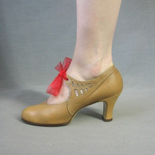 20s Flapper Shoes Vintage Heels Mary Jane Lattice New Old Stock 6 6.5. $85.00, via Etsy.