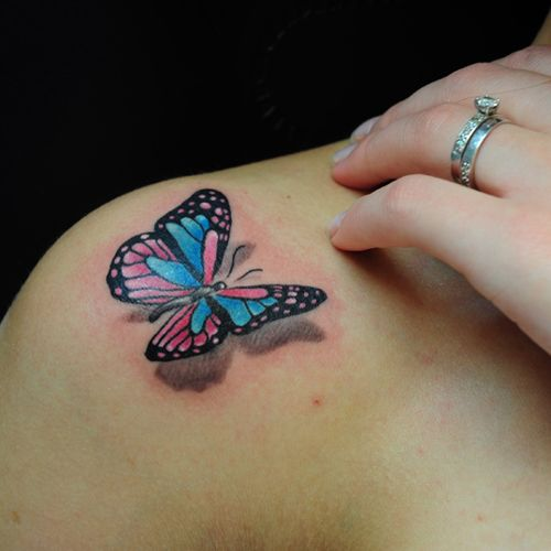 3D Butterfly tattoos on shoulder