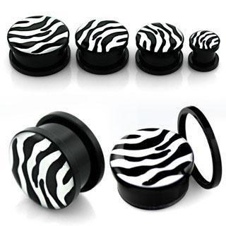Style Sanctuary  - Screw Fit Acrylic Flesh Plug with Zebra Print Design, £2.99…