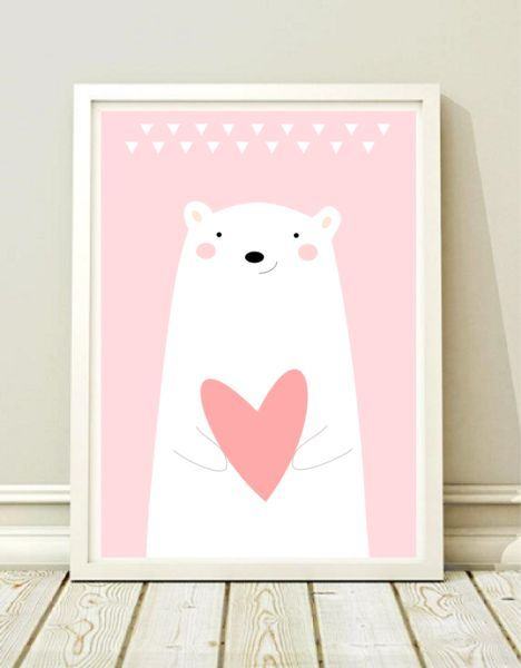 A3 Poster fürs Kinderzimmer mit Eisbär und rotem Herz / artprint with cute polar bear print made by Black Dot Studio via DaWanda.com