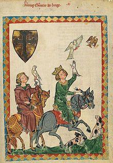Scuola siciliana - Wikipedia  Corradino di Svevia, quattordicenne, dedito alla falconeria, miniatura dal Codex Manesse