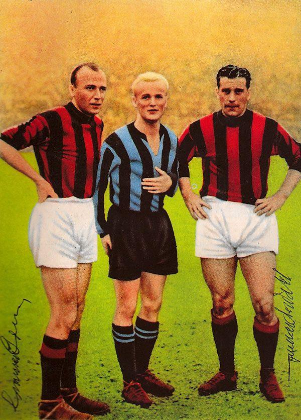 """Gunnar Gren (AC Milan, 1949–1953, 133 apps, 38 goals), Lennart """"Nacka"""" Skoglund (FC Inter Milan, 1950–1959, 241 apps, 55 goals) and Gunnar Nordahl (AC Milan, 1949–1956, 257 apps, 210 goals)."""