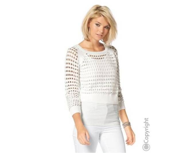 Kurz-Pullover Wollweiß Gr. 44 /46 mit Lochmuster von Laura Scott Jetzt bestellen unter: https://mode.ladendirekt.de/damen/bekleidung/pullover/sonstige-pullover/?uid=95a0b4c7-64c1-5364-9658-be2384318bd6&utm_source=pinterest&utm_medium=pin&utm_campaign=boards #sonstigepullover #pullover #bekleidung