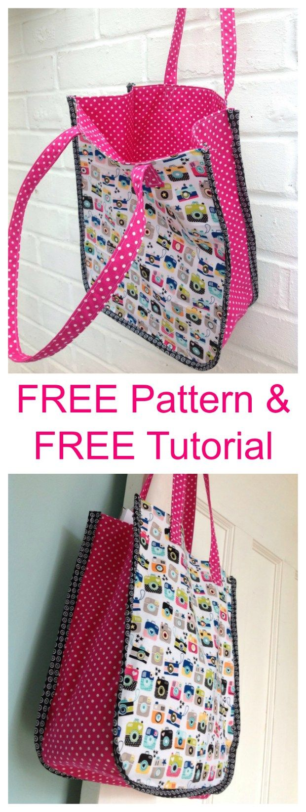 The Instamatic Tote Bag gets its name obviously from the cute fabric that was used. This is both an easy to sew Tote Bag and is the perfect size for you. #freesewingpattern #freebagpattern #totebagpattern