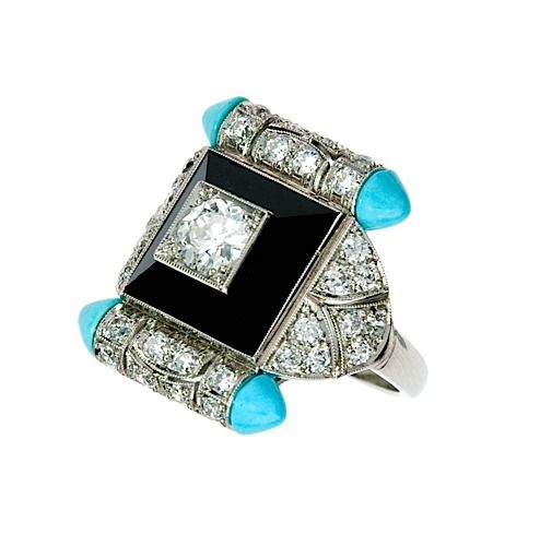 AN ART DECO ONYX, TURQUOISE AND DIAMOND RING. #ArtDeco #ring