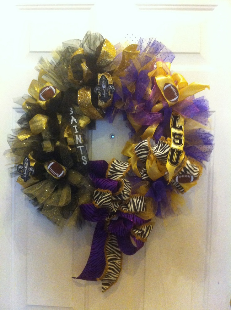 This is a LSU & Saints FOOTBALL WREATH.  Will create for you any local, college or pro teams.. $160.00, via Etsy.
