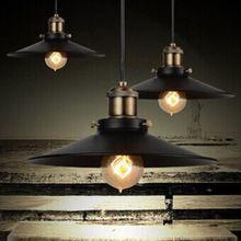 Edison kroonluchter vintage e27 zwart afgewerkt ijzer schaduw industriële hanglamp(China (Mainland))