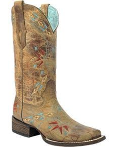 Corral Vintage Saddle Embroidered Cowgirl Boots - Square Toe, Sand